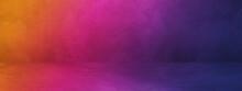 Empty Dark Colorful Concrete Interior Background Banner