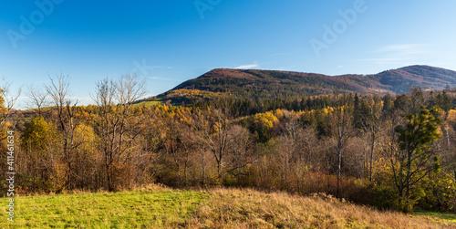 Fototapeta Ostry vrch and Mala Czantoria hills in autumn Slezske Beskydy mountains on czech - polish borderlands obraz