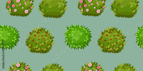 Obraz na plátně Green blooming bush vector gardening seamless pattern with blossom, leaves, berries