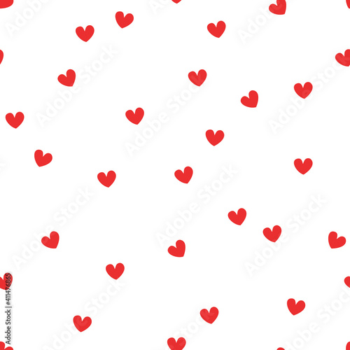 Vector seamless pattern with hand drawn hearts Fototapet