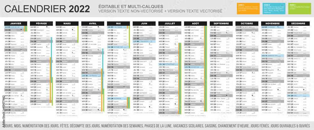 Fototapeta Calendrier 2022 - Fichier éditable et multi-calques