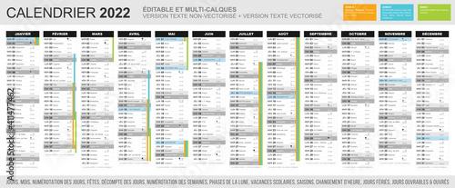 Obraz Calendrier 2022 - Fichier éditable et multi-calques - fototapety do salonu
