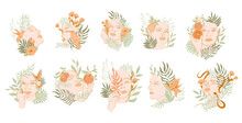 Collection Of Beautiful Woman Face Portrait With Plants And Flowers In One Line Style. Blooming Abstract Women. Minimalistic Style. Vector Illustration.