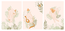 Collection Of Posters With Beautiful Women Bodies Art With Plants And Flowers In One Line Style. Blooming Abstract Woman.  Minimalistic Style. Vector Illustration.