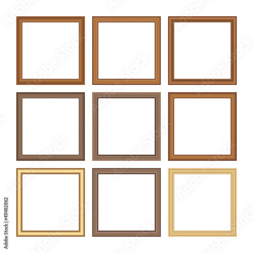 Fototapeta Set of squared golden vintage wooden frame for your design. Vintage cover. Place for text. Vintage antique gold beautiful rectangular frames. Template vector illustration. obraz na płótnie