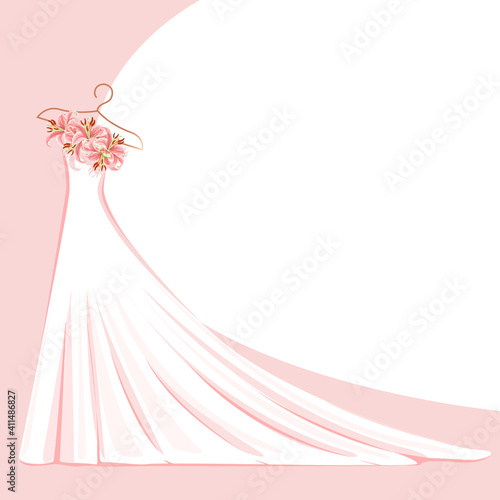 Canvas A beautiful wedding dress decorated with flowers hangs on a hanger