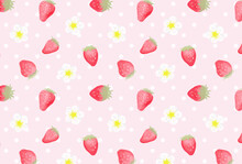 Seamless Pattern With Strawberries And Flowers For Banners, Cards, Flyers, Social Media Wallpapers, Etc.