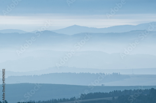 Fototapeta Landscape with mountains with fog