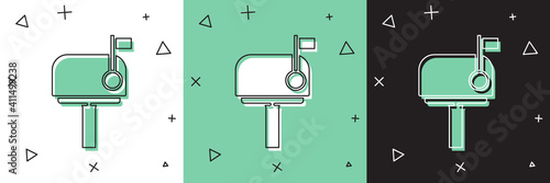 Fotografie, Obraz Set Mail box icon isolated on white and green, black background