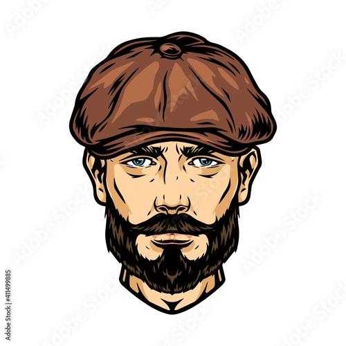 Trendy man head in irish cap © DGIM studio