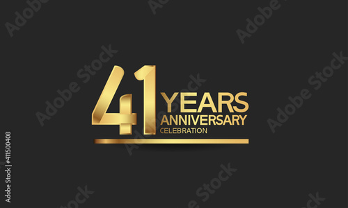 Photo 41 years anniversary celebration with elegant golden color isolated on black bac