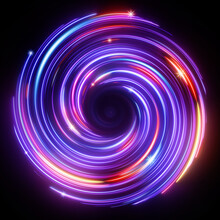 3d Render, Abstract Cosmic Background With Galaxy And Stars. Round Vortex. Pink Blue Neon Lines Spinning Around The Black Hole