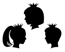 Royal Kids Black And White Vector Head Silhouette Portraits - Princess Girl And Prince Boy Wearing Crown