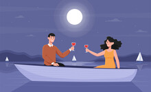 Smiling Couple On A Romantic Night Date In Boat. Concept Of Creative Evening. Male And Female Characters In Love Spending Night At The Lake Drinking Wine In Boat. Flat Cartoon Vector Illustration
