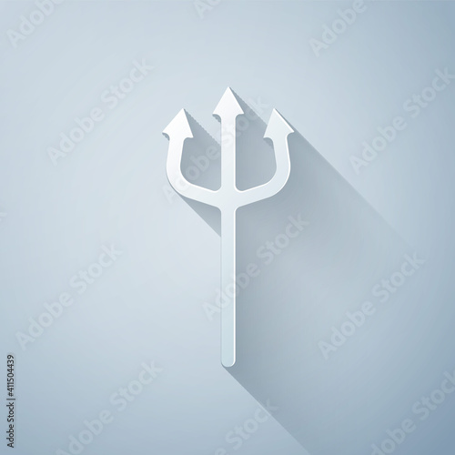 Fotografie, Obraz Paper cut Neptune Trident icon isolated on grey background