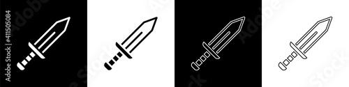 Fotografie, Obraz Set Sword icon isolated on black and white background