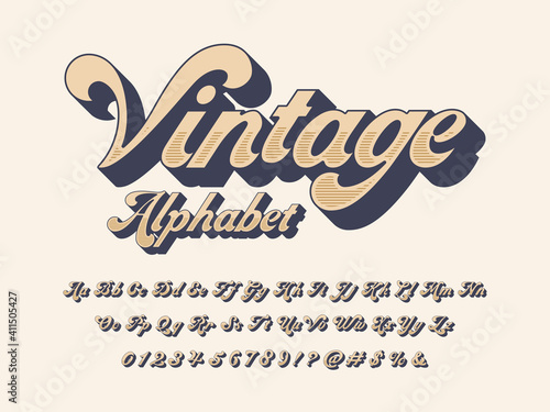 Платно Vector of groovy hippie style alphabet design