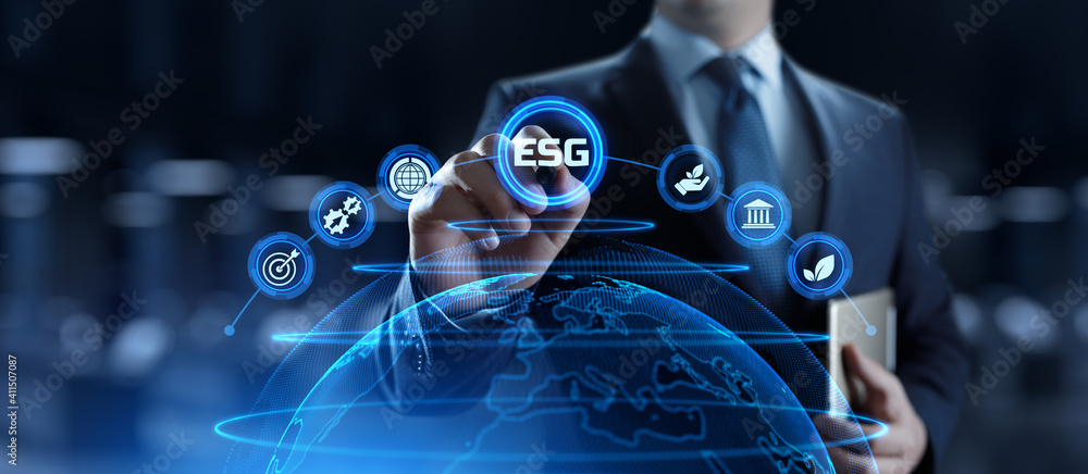 Fototapeta ESG environmental social governance business strategy investing concept. Businessman pressing button on screen