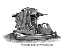 Gruson Revolver Gun Mounted On Wheels, Surelevated Casemate Carriage For Close Range Defense, End 19th Century