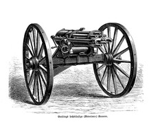 Gatling Rapid-firing Multiple-barrel Machine Gun Invented In 1861 By Richard Jordan Gatling,  Each Barrel Sequentially Loads A Single Round Of Cartridge And Fires Off The Shot As A Revolver Cannon