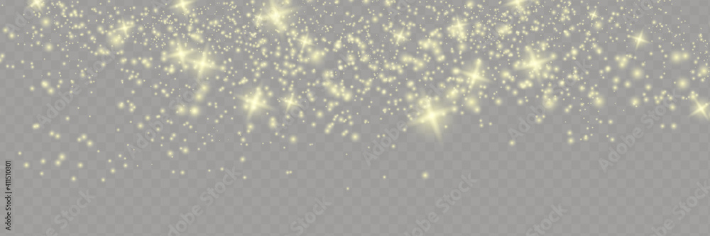 Fototapeta Sparkling magical dust particles . The dust sparks and golden stars shine with special light.