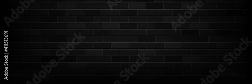 Foto Vector realistic isolated panoramic black brick wall background for template and layout decoration