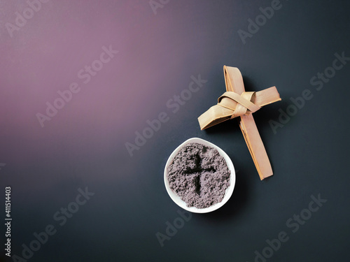 Lent Season,Holy Week and Good Friday Concepts - image of bowl of ash with cross made of palm leave background Wallpaper Mural