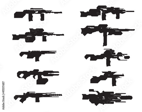 Fotografering Set Of Scifi Weapons Concept