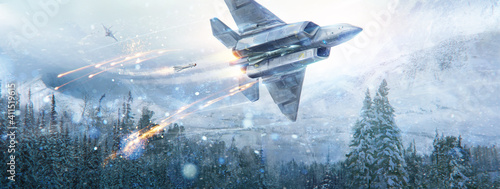Fotografering Air battle of two fantastic aircraft in the sky in the in winter mountain landscape