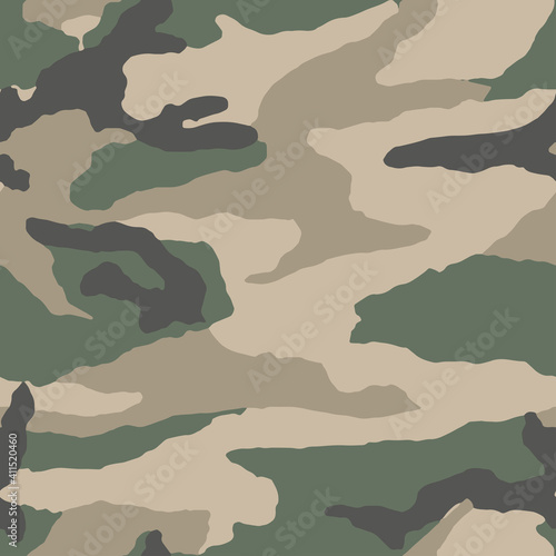 Obraz Full seamless military camouflage skin pattern vector for decor and textile. Army masking design for hunting textile fabric printing and wallpaper. Design for fashion and home design. - fototapety do salonu