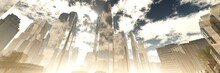 Skyscrapers, High-rise Buildings From Below Against The Background Of The Sky, Cityscape, Panorama Of Skyscrapers, 3D Rendering
