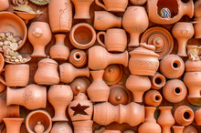 Full Frame Shot Of Various Earthenware For Sale At Market
