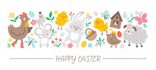 Vector Horizontal Set With Flat Easter Day Characters And Elements. Card Template Design With Bunny, Egg, Funny Animals, Birds, Flowers. Cute Spring Holiday Border..