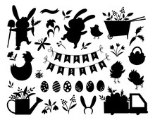 Vector Easter Silhouettes Set. Vector Pack With Cute Bunny, Eggs, Bird, Chicks, Basket Black Shadows. Spring Funny Illustration. Adorable Holiday Icons Collection.