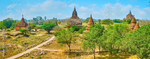 Fotografie, Obraz Aerial panorama of Bagan, Myanmar