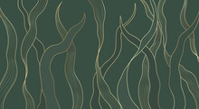 Gold Line Luxury Nature Floral Leaves Background Vector. Abstract Golden Split-leaf Seaweed Plant Lined Arts, Vector Pattern Illustration