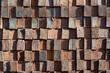 Old brown square brick wall