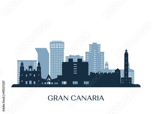 Gran Canaria skyline, monochrome silhouette. Vector illustration. Fotobehang