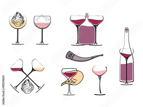 Wine concept collection for a logo on a white background #411554634