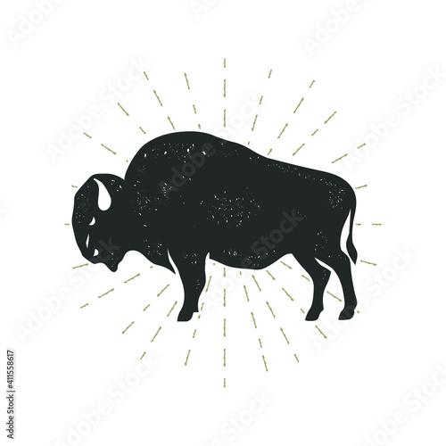 Bison with grunge effect isolated on white. Vector illustration. Tapéta, Fotótapéta