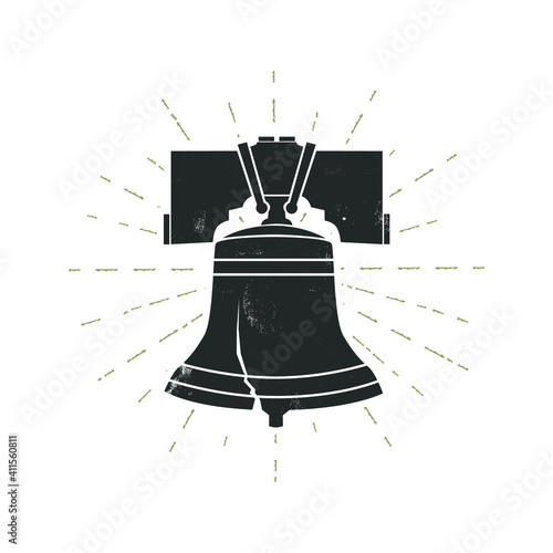 Tablou Canvas Liberty bell with grunge effect. Vector illustration.
