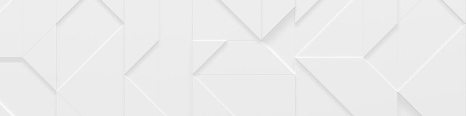 Wide White Website Header (Geometric 3D Illustration)