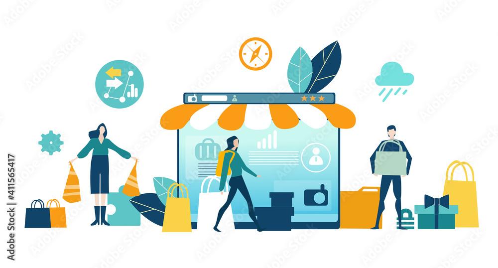 Fototapeta Online shopping concept illustration. Spend money, buy gift, people making inline orders