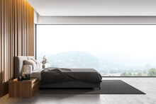 Master Bedroom With Grey Wooden Walls, Panoramic Window With Countryside View, Comfortable King Size Bed Standing On Gray Carpet And Concrete Floor.