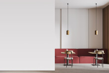 Mockup Copy Space In Cafe With Furniture, Red Sofa And Chairs