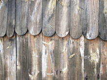 Antique Wooden Fence With Two Tiers. Retro Background With Home Fence.