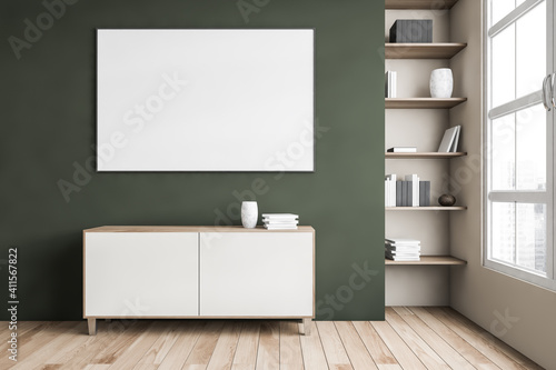 Mockup canvas above commode, green wall and bookshelf near window