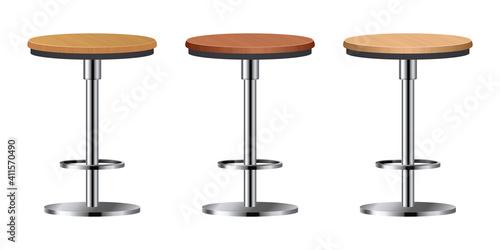 Fotografia Realistic bar chair set vector illustration