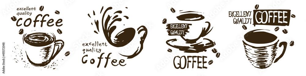 Fototapeta Vector set of drawn coffee cup logos on white background