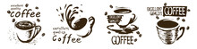 Vector Set Of Drawn Coffee Cup Logos On White Background